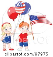 Royalty Free RF Clipart Illustration Of A Patriotic Boy And Girl With Balloons And An American Flag by Pushkin