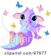 Royalty Free RF Clipart Illustration Of A Cute Purple Dragon Sitting Back Surrounded By Butterflies by Pushkin