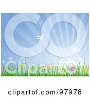Royalty Free RF Clipart Illustration Of A Spring Time Background Of Sparrows Flying Over Flowers And Grass