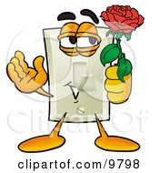 Clipart Picture Of A Light Switch Mascot Cartoon Character Holding A Red Rose On Valentines Day
