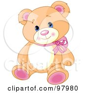 Royalty Free RF Clipart Illustration Of An Adorable Teddy Bear With Pink Feet And Ears Wearing A Red Ribbon