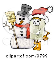 Light Switch Mascot Cartoon Character With A Snowman On Christmas