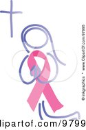 Royalty Free RF Clipart Illustration Of A Praying Woman With A Breast Cancer Awareness Ribbon Body by inkgraphics