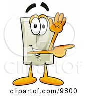 Light Switch Mascot Cartoon Character Waving And Pointing