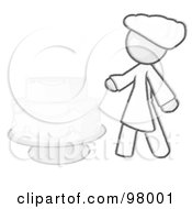 Royalty Free RF Clipart Illustration Of A Sketched Design Mascot Woman Wedding Cake Maker