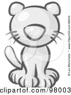 Royalty Free RF Clipart Illustration Of A Sketched Sitting Kitten