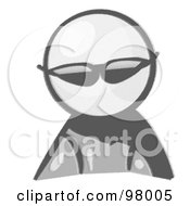 Royalty Free RF Clipart Illustration Of A Sketched Design Mascot Avatar Spy Wearing Shades by Leo Blanchette