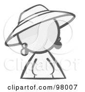 Royalty Free RF Clipart Illustration Of A Sketched Design Mascot Woman Avatar In A Dress And Hat