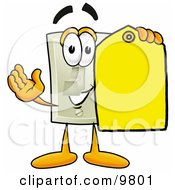 Light Switch Mascot Cartoon Character Holding A Yellow Sales Price Tag