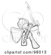 Royalty Free RF Clipart Illustration Of A Sketched Design Mascot Man Ultimate Warrior With A Sword And Shield by Leo Blanchette