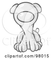 Royalty Free RF Clipart Illustration Of A Sketched Puppy Dog Sitting