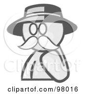 Royalty Free RF Clipart Illustration Of A Sketched Design Mascot Avatar Professor With A Mustache by Leo Blanchette