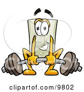 Light Switch Mascot Cartoon Character Lifting A Heavy Barbell