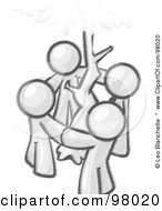 Royalty Free RF Clipart Illustration Of Sketched Design Mascots Standing In A Circle Around A Tree Holding Hands