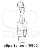 Sketched Design Mascot Thinking And Standing On Blocks
