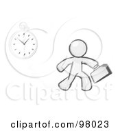 Sketched Design Mascot Man Running Late For Work Over A Crack With A Clock