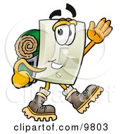 Light Switch Mascot Cartoon Character Hiking And Carrying A Backpack