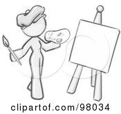Sketched Design Mascot Woman Artist Painting A Portrait