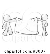 Sketched Design Mascot Man And Woman Holding A Blank Banner