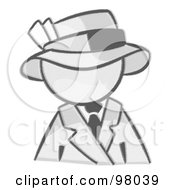 Royalty Free RF Clipart Illustration Of A Sketched Design Mascot Avatar Dressed For A Night On The Town