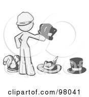 Royalty Free RF Clipart Illustration Of A Sketched Design Mascot Woman With Many Hats