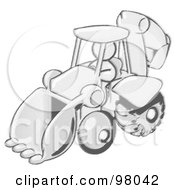 Royalty Free RF Clipart Illustration Of A Sketched Design Mascot Man Operating A Yellow Backhoe Machine At A Construction Site by Leo Blanchette