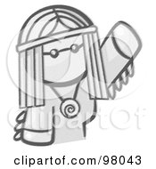 Royalty Free RF Clipart Illustration Of A Sketched Design Mascot Woman Avatar Hippie Waving