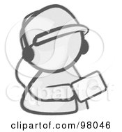 Royalty Free RF Clipart Illustration Of A Sketched Design Mascot Holding An Mp3 Player