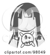Royalty Free RF Clipart Illustration Of A Sketched Design Mascot Avatar Grumpy Girl