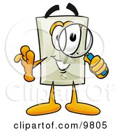 Light Switch Mascot Cartoon Character Looking Through A Magnifying Glass