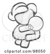 Royalty Free RF Clipart Illustration Of A Sketched Design Mascot Woman Avatar Mother Holding Her Baby