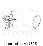Royalty Free RF Clipart Illustration Of A Sketched Design Mascot Man Aiming An Arrow And Bow At A Target During Archery Practice by Leo Blanchette