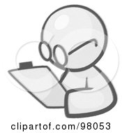 Royalty Free RF Clipart Illustration Of A Sketched Design Mascot Avatar Writing Notes On A Clipboard