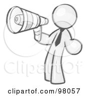 Royalty Free RF Clipart Illustration Of A Sketched Design Mascot Man Announcing With A Megaphone by Leo Blanchette