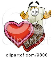 Clipart Picture Of A Light Switch Mascot Cartoon Character With An Open Box Of Valentines Day Chocolate Candies by Toons4Biz