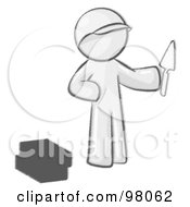 Royalty Free RF Clipart Illustration Of A Sketched Design Mascot Man Brick Layer Holding A Trowel by Leo Blanchette