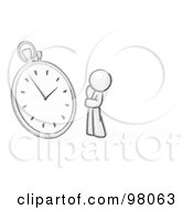 Royalty Free RF Clipart Illustration Of A Sketched Design Mascot Man Worried And Watching A Clock