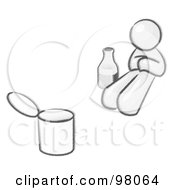 Royalty Free RF Clipart Illustration Of A Sketched Design Mascot Bum With Alcohol And A Can