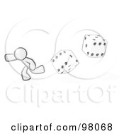 Royalty Free RF Clipart Illustration Of A Sketched Design Mascot Man Running From Dice by Leo Blanchette