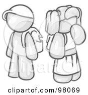 Royalty Free RF Clipart Illustration Of Sketched Design Mascot School Children