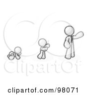 Royalty Free RF Clipart Illustration Of A Sketched Design Mascot Man In His Growth Stages Of Life Starting Out As A Crawling Baby In A Diaper Then A Child And Then An Adult
