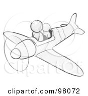 Royalty Free RF Clipart Illustration Of A Sketched Design Mascot Flying A Plane With A Passenger by Leo Blanchette