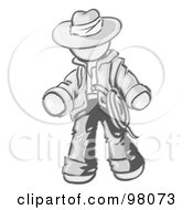 Royalty Free RF Clipart Illustration Of A Sketched Design Mascot Cowboy Adventurer