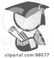 Royalty Free RF Clipart Illustration Of A Sketched Design Mascot Avatar Graduate Holding A Diploma by Leo Blanchette