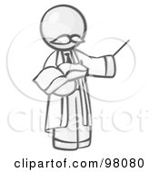 Royalty Free RF Clipart Illustration Of A Sketched Design Mascot Professor Holding A Pointer Stick And An Open Book
