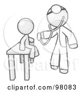 Royalty Free RF Clip Art Illustration Of A Sketched Design Mascot Man Doctor Examining A Child by Leo Blanchette