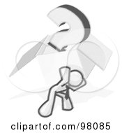Royalty Free RF Clipart Illustration Of A Sketched Design Mascot Man Carrying A Heavy Box With A Question Mark In It On His Back