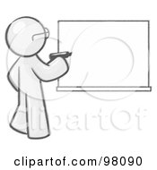 Royalty Free RF Clipart Illustration Of A Sketched Design Mascot Man Writing On A White Board by Leo Blanchette
