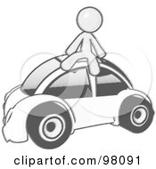 Royalty Free RF Clipart Illustration Of A Sketched Design Mascot Man Sitting On Top Of A Slug Bug by Leo Blanchette