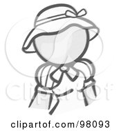 Royalty Free RF Clipart Illustration Of A Sketched Design Mascot Woman Avatar In A Dress And Hat by Leo Blanchette